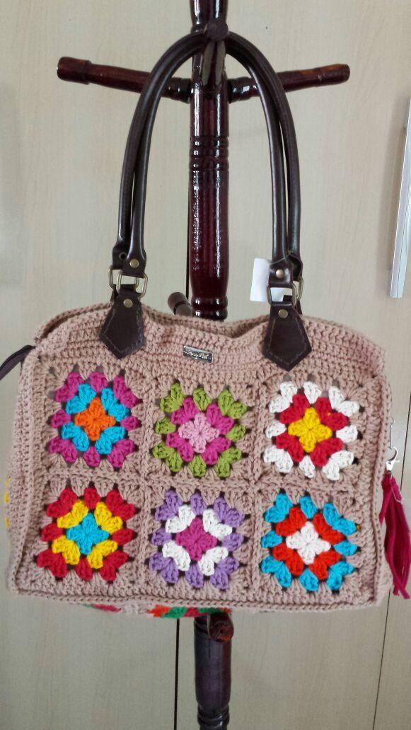 38339c5cb Bolsa Croche com alça em couro sintetico | Rosa Flor Croche | Elo7 ...