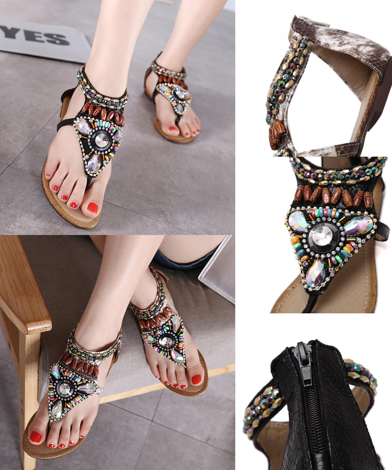 26d152f06  Visit to Buy  women thong multi color crystal rhinestone sandals flat heel  shoes string