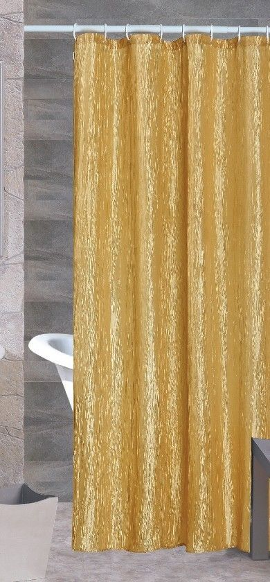 Sherry Luxurious Crushed Satin Fabric Shower Curtain Gold Beige