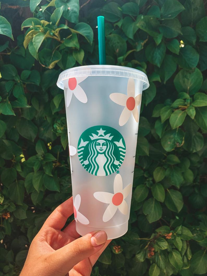 Flower Starbucks Cup Etsy Starbucks Cups Starbucks Personalized Starbucks Cup