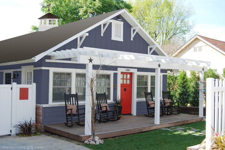 Best Navy With Red Door White Trim And Grey Metal Roof 400 x 300