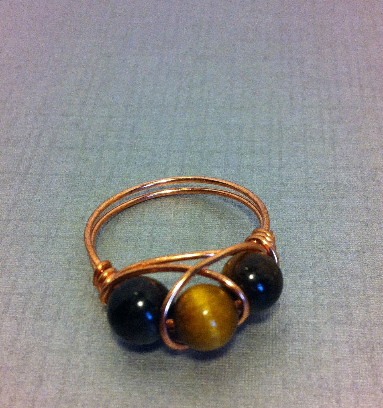 Wire Wrapped Tigereye Ring, Copper Band, Yellow Tigereye, Three ...