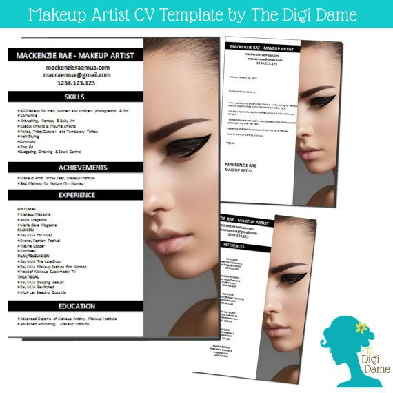 cv template package makeup artist includes a cv by digidame cv artist resume templates - Makeup Artist Resume Sample