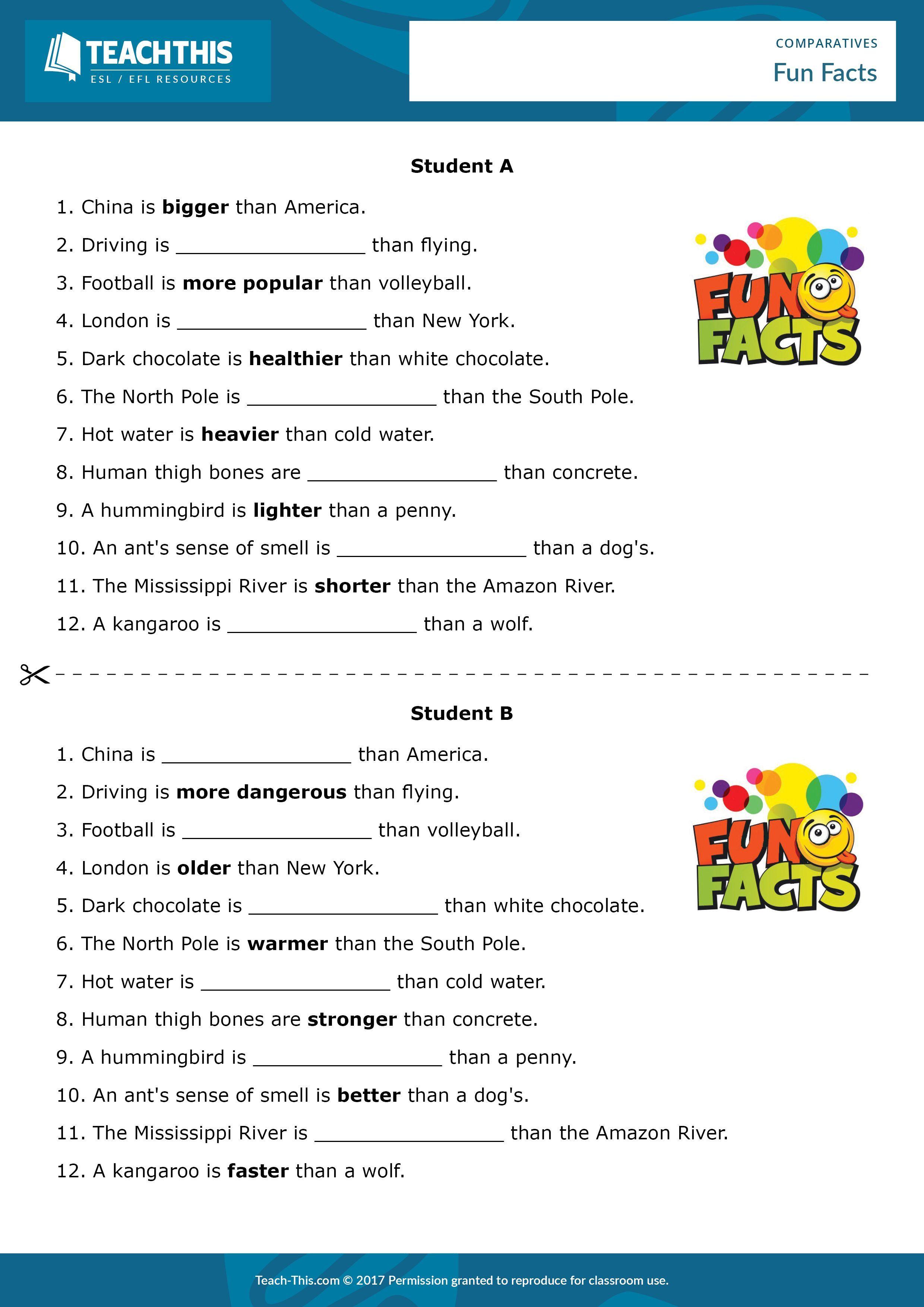 Esl Comparative Adjectives Worksheet