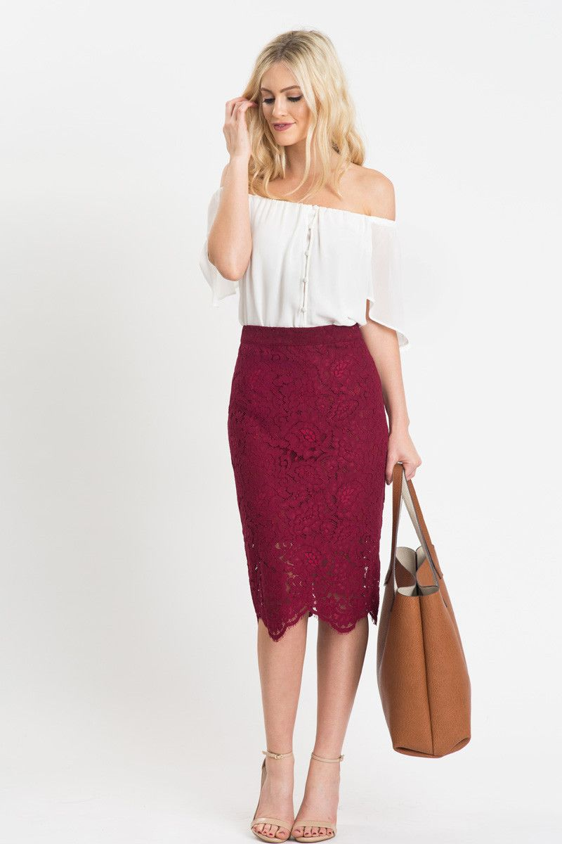 c7a900c138582 Lace Pencil Skirt, Office Wear, Feminine Work Outfits, Burgundy Lace Skirt