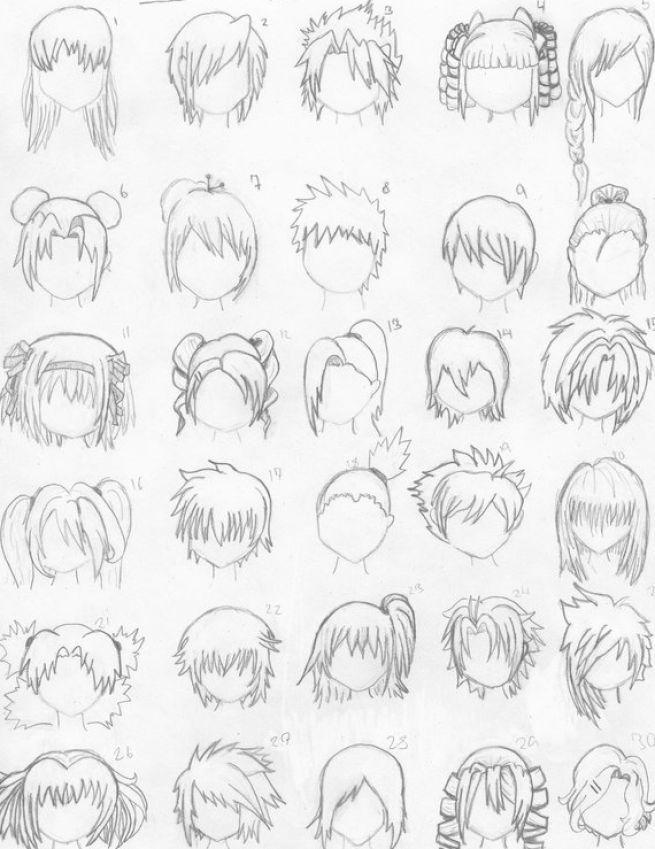 how to draw anime hair styles | Anatomía | Pinterest | Dibujo ...