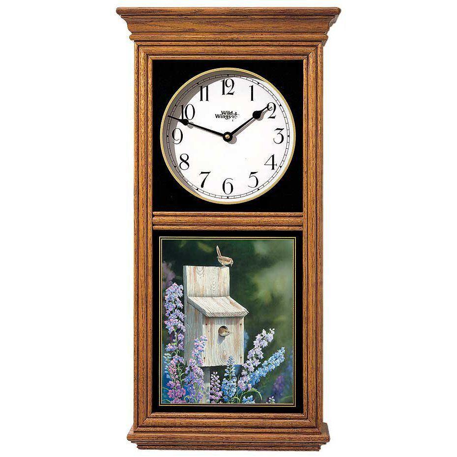 Wren Bird Medium Oak Wood Regulator Wall Clock Clock Wood Nature Decor