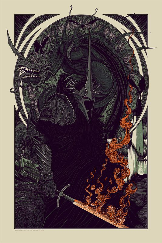 """Today, 12/17/13, Mondo Is Releasing An All New Print By Florian Bertmer: """"Witch King and Fell Beast"""""""