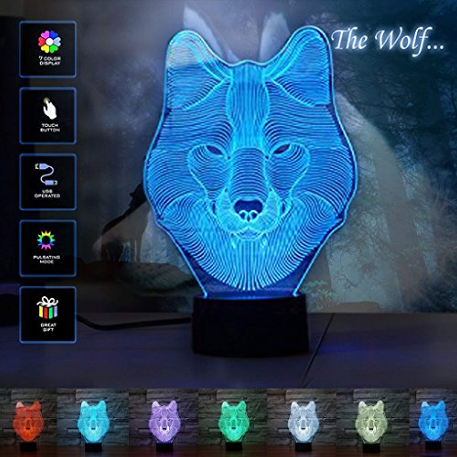 Animals Wolf 3d Illusion Lamp 3d Night Light Touch Table Desk Lamps 7 Color Changing Lights With Acrylic Flat L 3d Night Light 3d Illusion Lamp Desk Lamps