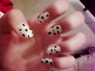 Dalmatian Nails.  She did this herself, we'll have to try this next time I'm home.