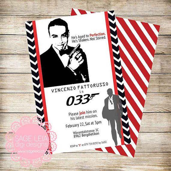 007 James Bond Custom Printable Personalized Birthday Party Etsy Printable Personalized Personalized Birthday Printable Cards