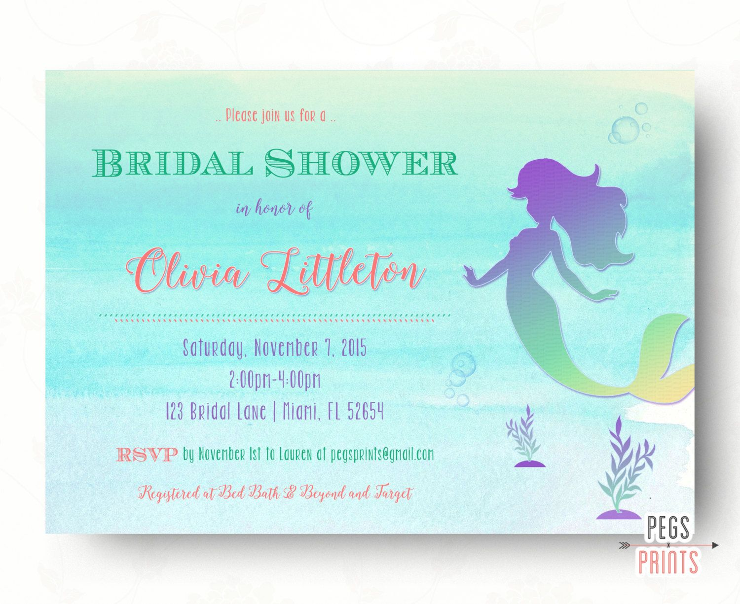 mermaid bridal shower invitation printable under the sea bridal shower invitation fairytale bridal shower