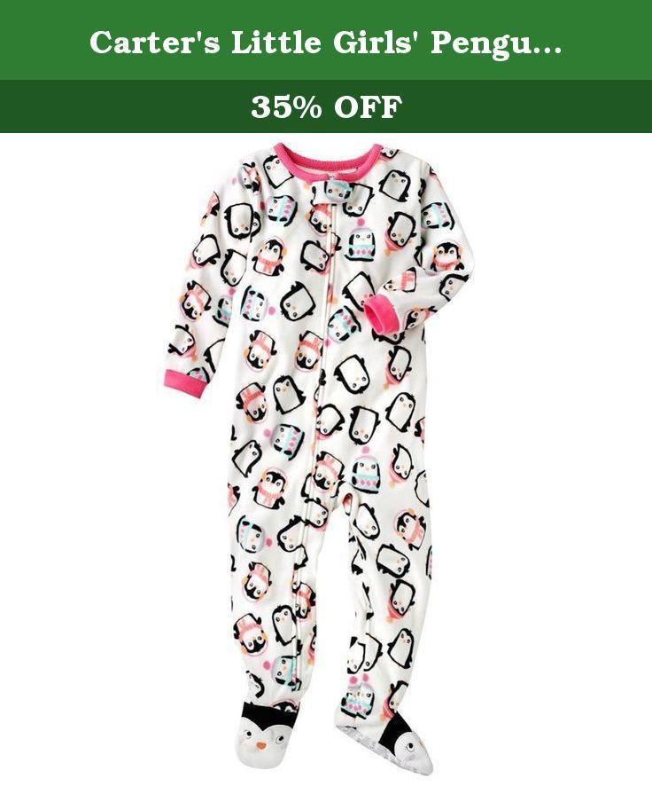 Carters Baby Girls 4T Pink Polka Dot Penguin Fleece Pajama Sleeper