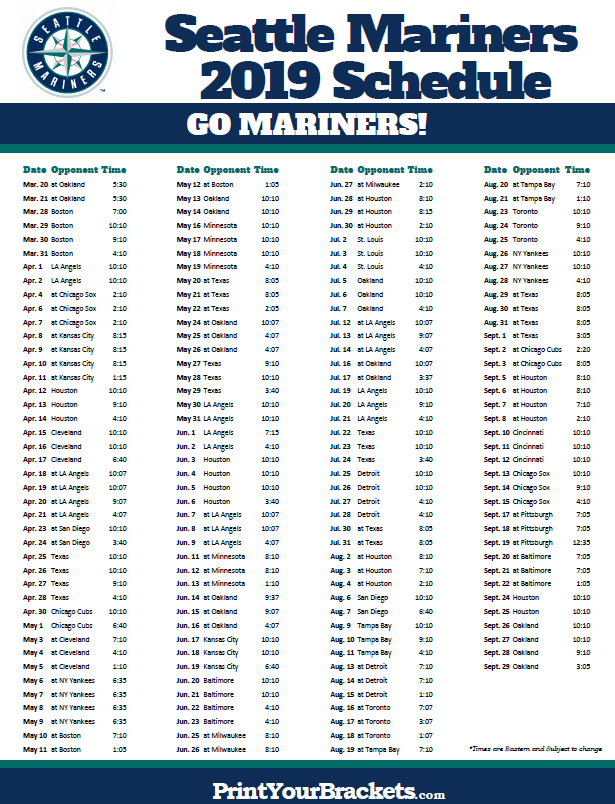 photograph regarding Yankees Schedule Printable called Printable 2019 Seattle Mariners Program Printable MLB