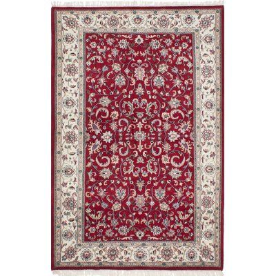 ECARPETGALLERY Royal Mahal Hand-Knotted Dark Red/Beige Area Rug