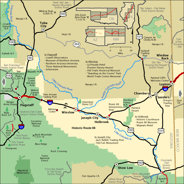 Map Of Eastern Arizona.Historic Route 66 Az Eastern Section America S Byways Travel