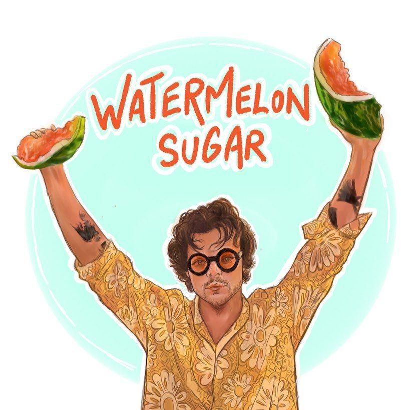 Agnes Art On Instagram Н°ðšððžð«ð¦ðžð¥ð¨ð§ Н¬ð®ððšð« Н¡ð¢ðð¡ I Ve Just Got An Ip In 2021 Harry Styles Drawing Watermelon Sugar Watermelon Sugar Art