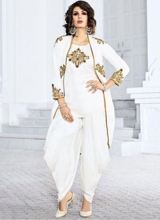 White Zardosi Work Patch Work Satin Linen Designer Wedding Fancy Patiala Suit