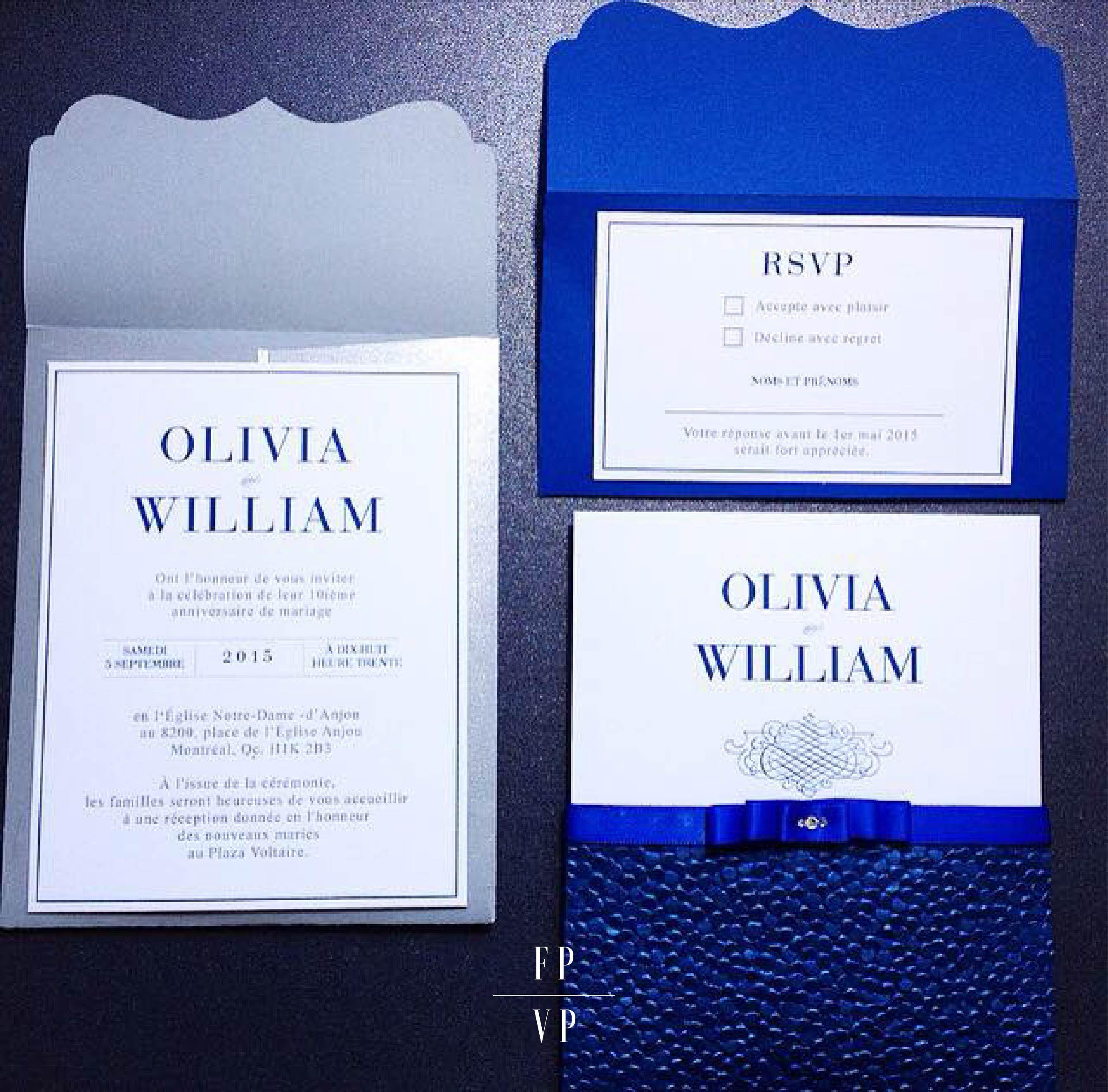 Montreal Wedding Invitations: Elegant Royal Blue Wedding Invitation, Invitation Card