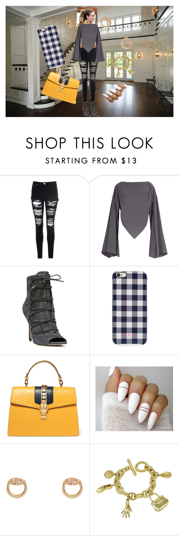 """Dark grey"" by boopreski ❤ liked on Polyvore featuring Glamorous, Balenciaga, Sam Edelman, Isaac Mizrahi, Gucci, classy, rippedjeans and bellsleeves"