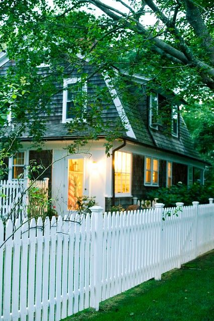 Shingled Cottage At Dusk Homes Outdoor Spaces In 2019 Fence