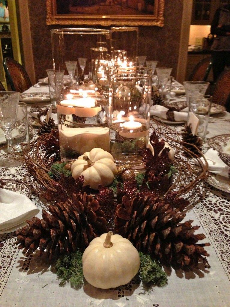 rustic elegant thanksgiving tablescape: pine cones & white ...