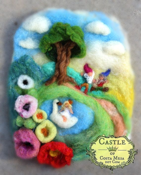 A little fairy went riding a swan one fine day. ...  You can complete the story!  This fluffy and cheerful picture will brighten any room. Imaginative and fun, it's the stuff of sweet childhood memories!  This is a needle-felted wool tapestry/picture with oval-ish edge. The longest side is a little less than 10.5 inches (26.5cm) long. Side to side, it measures a tad over 8.5 inches (about 21.5 cm). This sweet picture has a water color paper backing with a piece of yarn on the back to render…
