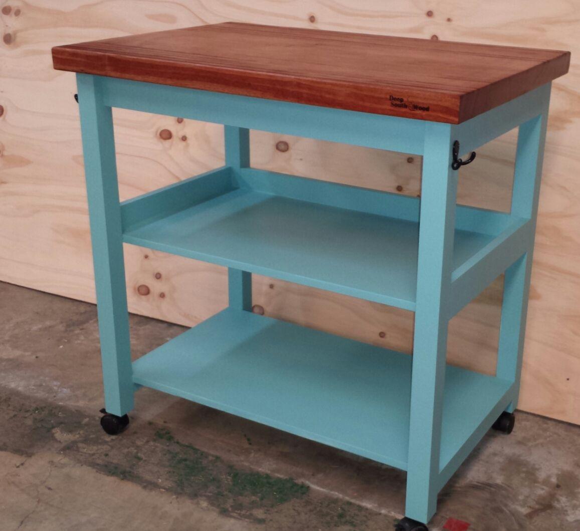 Walnut with painted base kitchen/outdoor bar cart | Kitchen ...