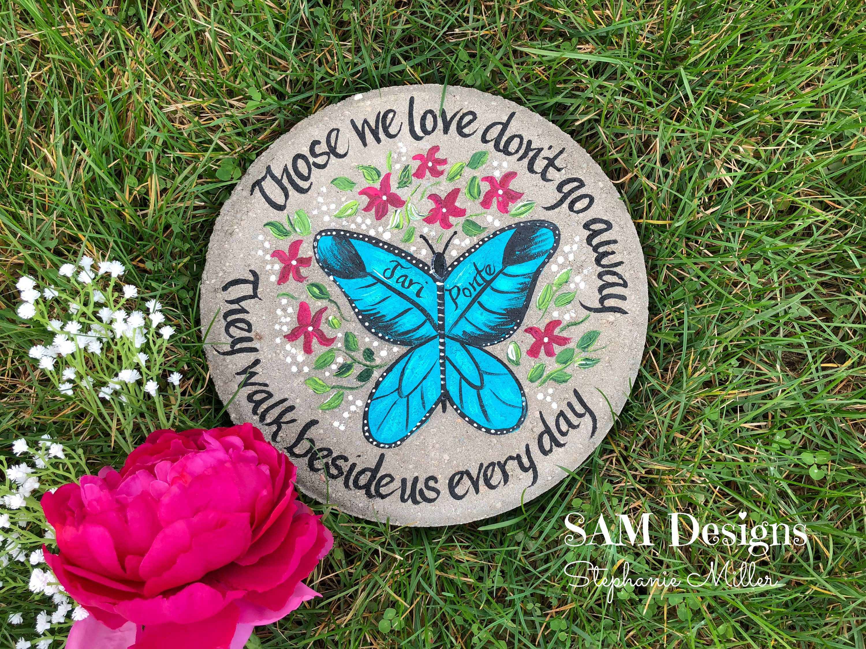 pin verse gift on garden stone hand bible painted memorial pinterest stepping stones