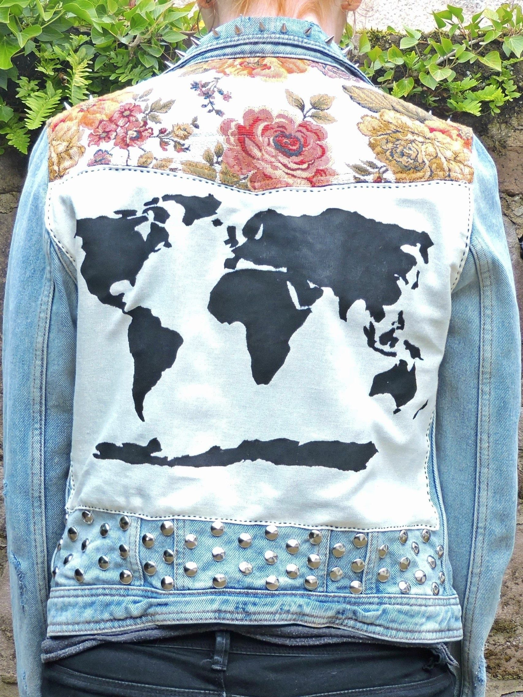 Floral world map patched studded upcycled blue distressed denim floral world map patched studded upcycled blue distressed denim jacket gumiabroncs Images
