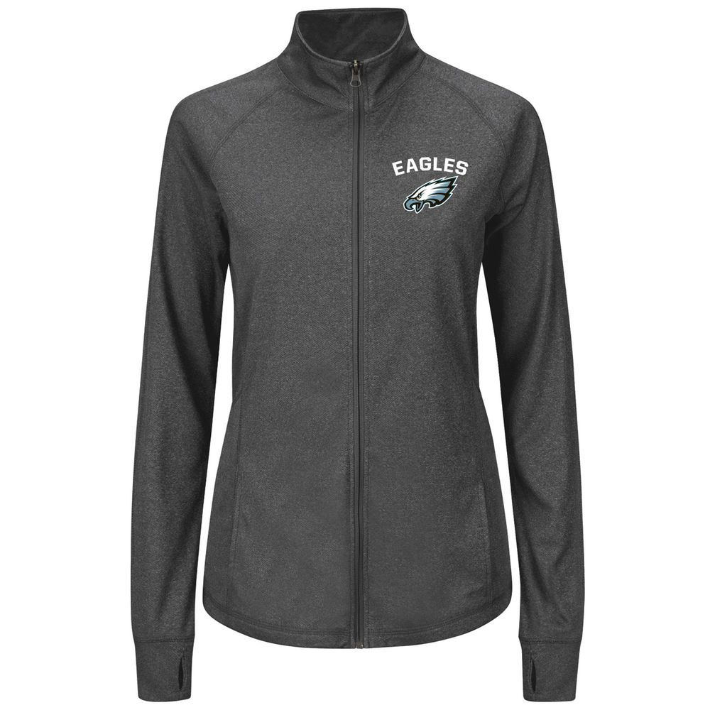 3320ff8252a Women s Adult Majestic Charcoal Philadelphia Eagles Count the Wins  Synthetic Therma Base™ Jacket