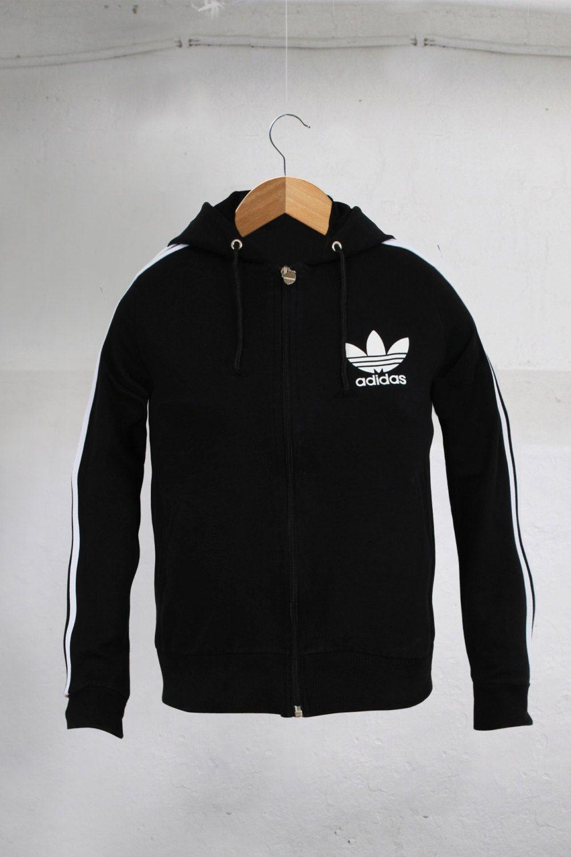 hot sale online 0e920 72ee5 Vintage 90s Adidas Trefoil Big logo Hip Hop Run Dmc Style Womens Tracksuit  top Black Size S by VapeoVintage on Etsy