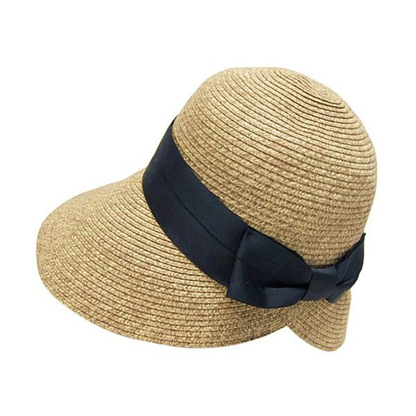 85c99bb07ef Boardwalk Style Natural   Black Bow Straw Sun Hat ( 20) ❤ liked on Polyvore  featuring accessories and hats