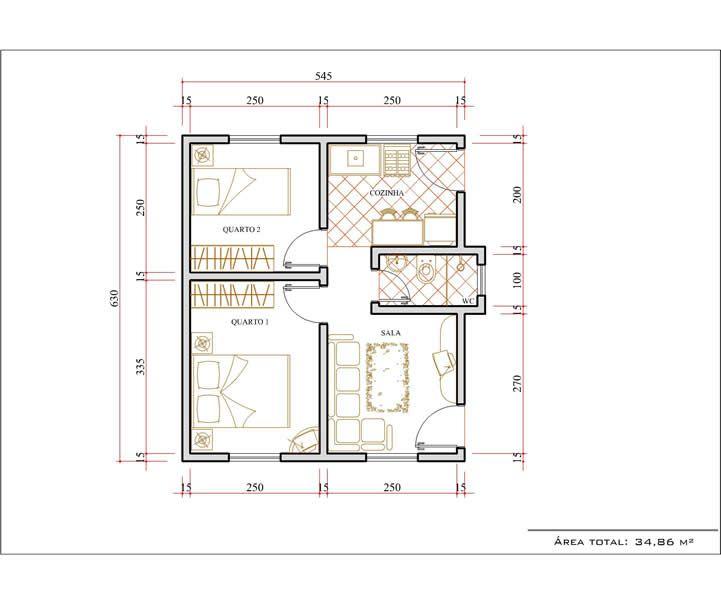 Amado Plantas de casas com medidas grátis | Decoração e Projetos | small  DM71
