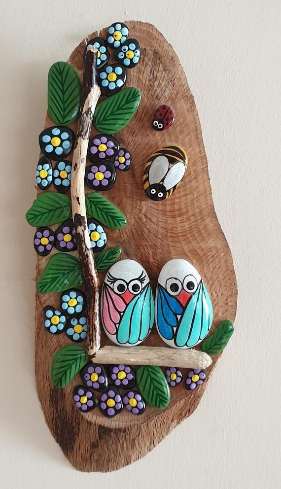 Hand Painted Pebble Art, Owl Family Stone Wall Han