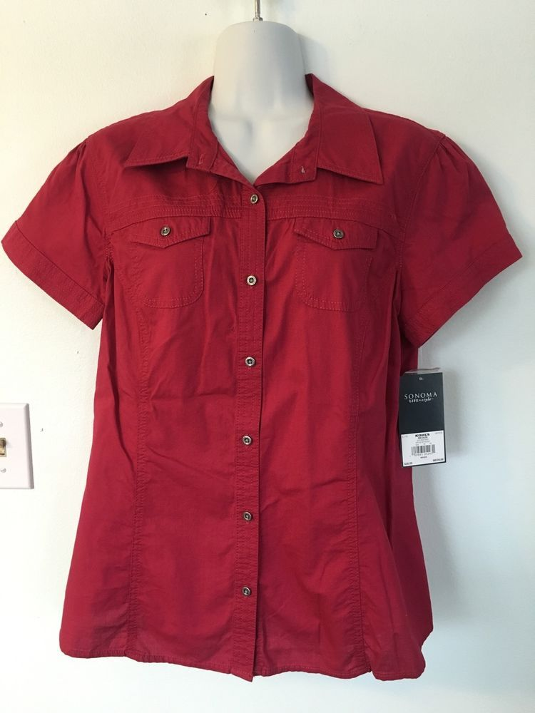 Sonoma Red Short Sleeve Button Down Shirt Women size M NWT Double ...