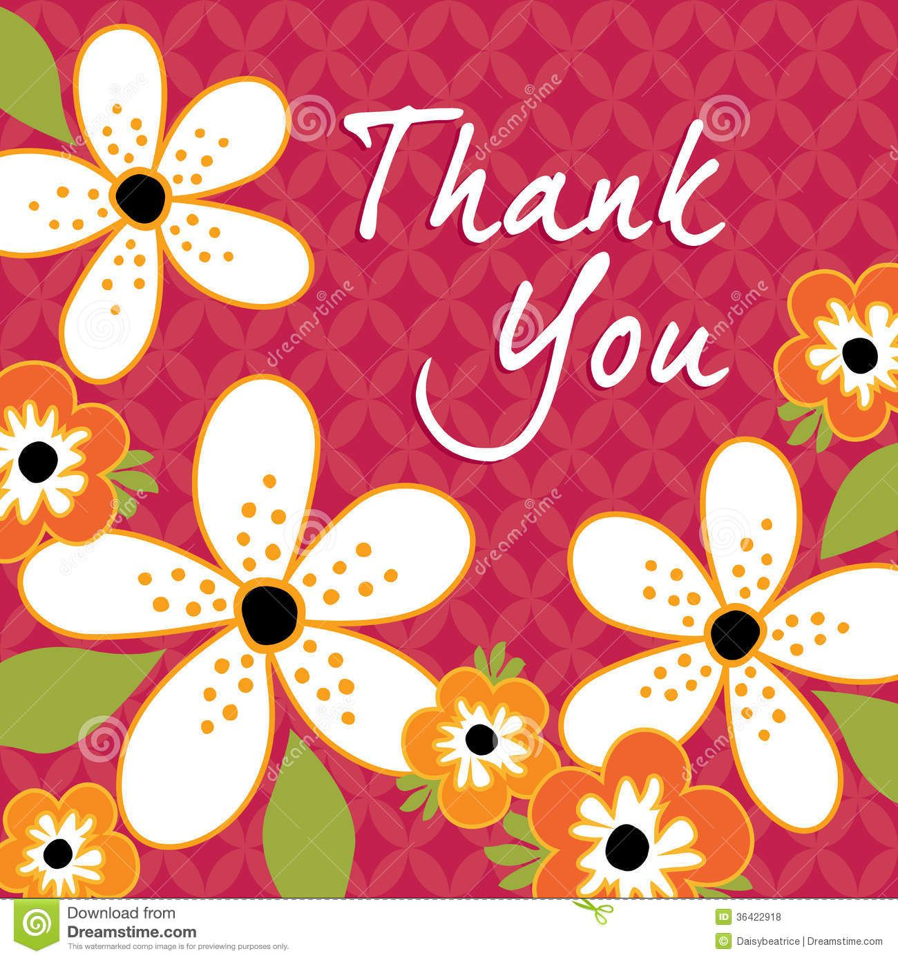 Vintage Floral Thank You Card Template Greeting Cute Retro Flowers