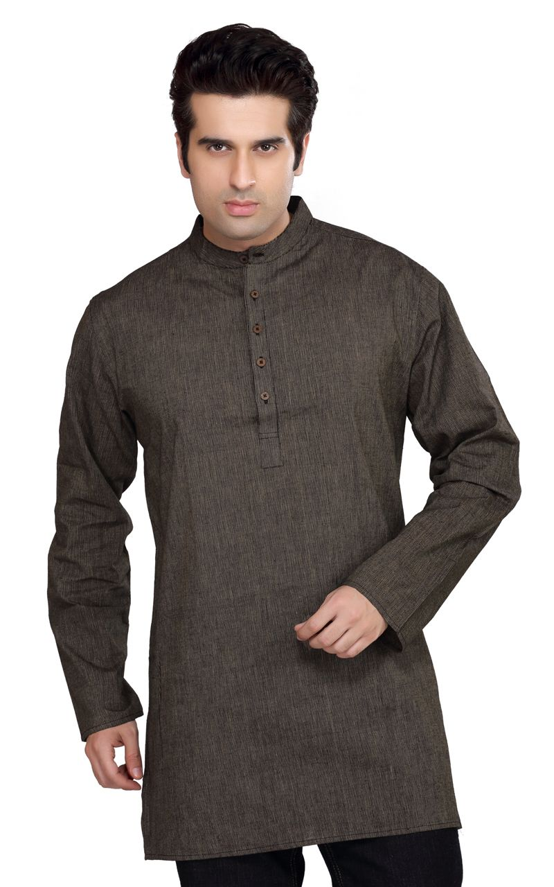 Shatranj Men's Kurta Tunic Banded Collar Thin Stripe Shirt