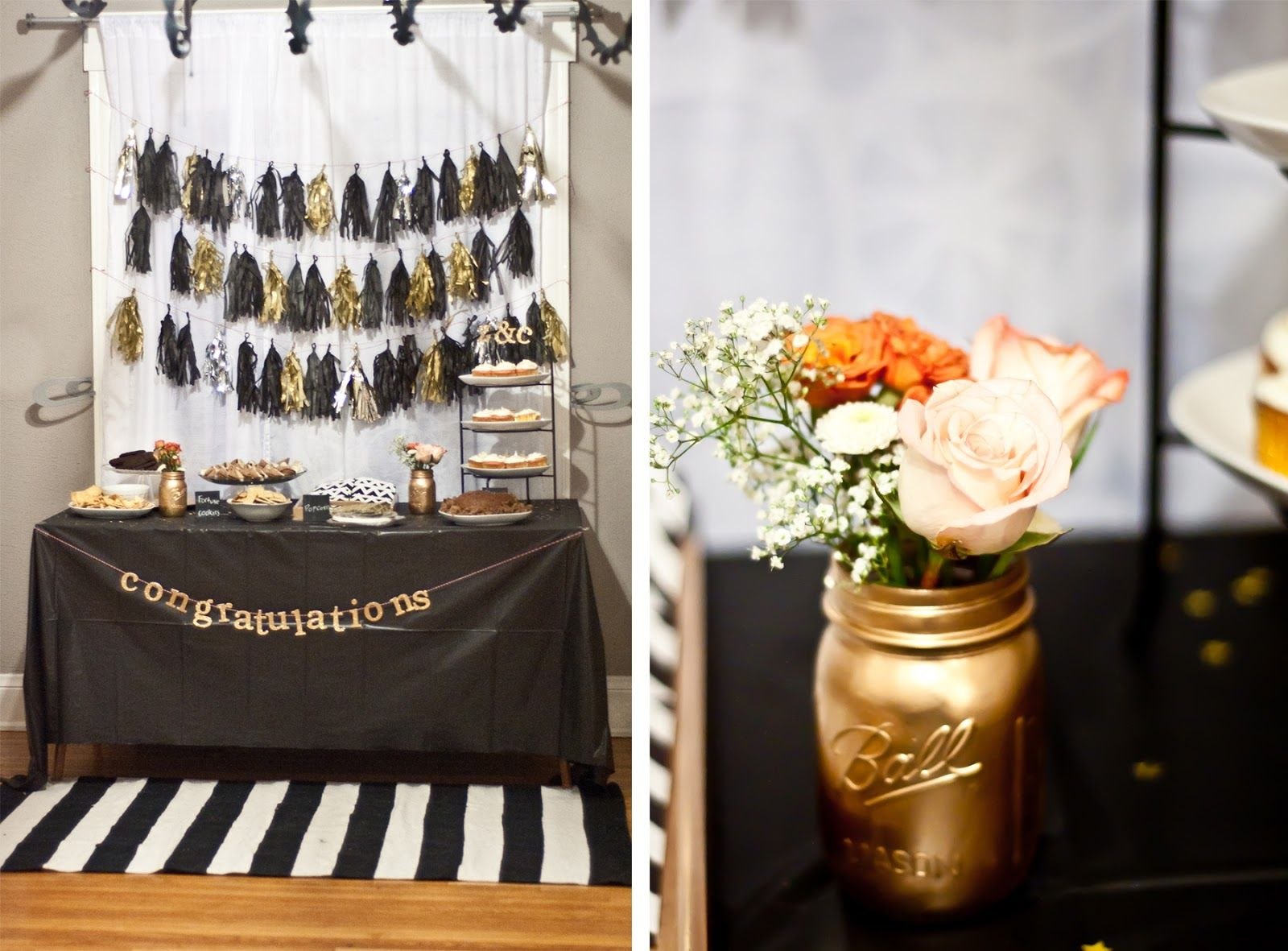 Black And Gold Colors Table Pieces Table Cloths Decorations