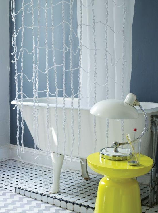 Dusch Vorhang schön dekorieren \u2013 originelle Ideen zum Selbermachen