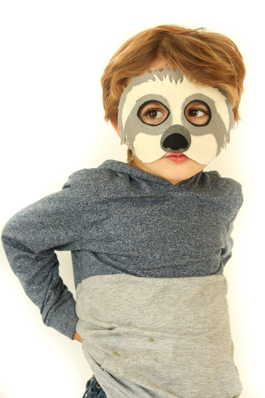 Sloth Mask Pattern. Kids sloth costume sewing pattern