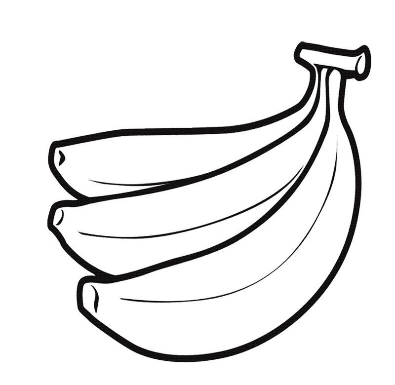Three Bananas Fruit With Large Size Coloring Pages