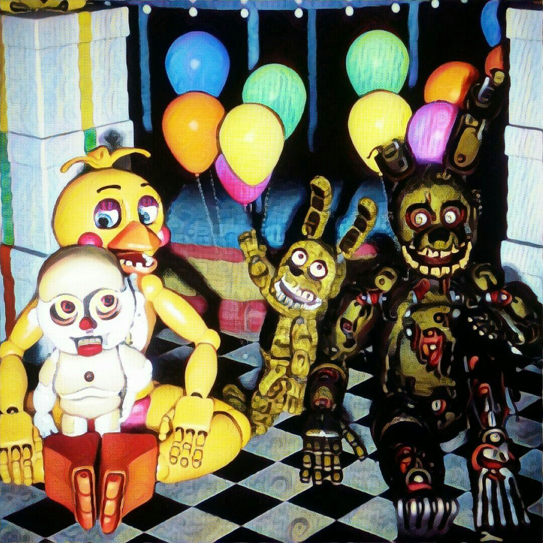 Our Friends And I Fnaf: Portrait Of My Sfm Of Me, Bidy Plushtrap, And Springtrap