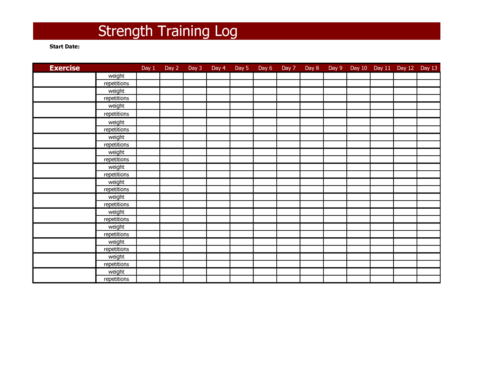 Strength Training Log Workout Log Book Workout Template Workout Log