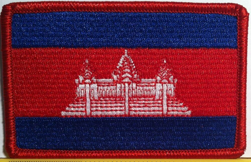 CAMBODIA Flag Patch with VELCRO® brand fastener Biker Military Emblem