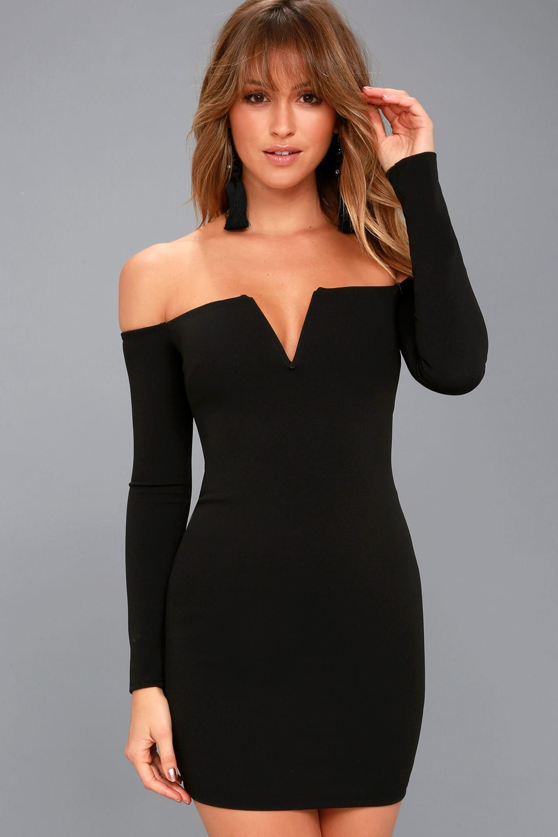 d955411c1c77 Lulus | Over the Swoon Black Off-the-Shoulder Bodycon Dress | Size ...
