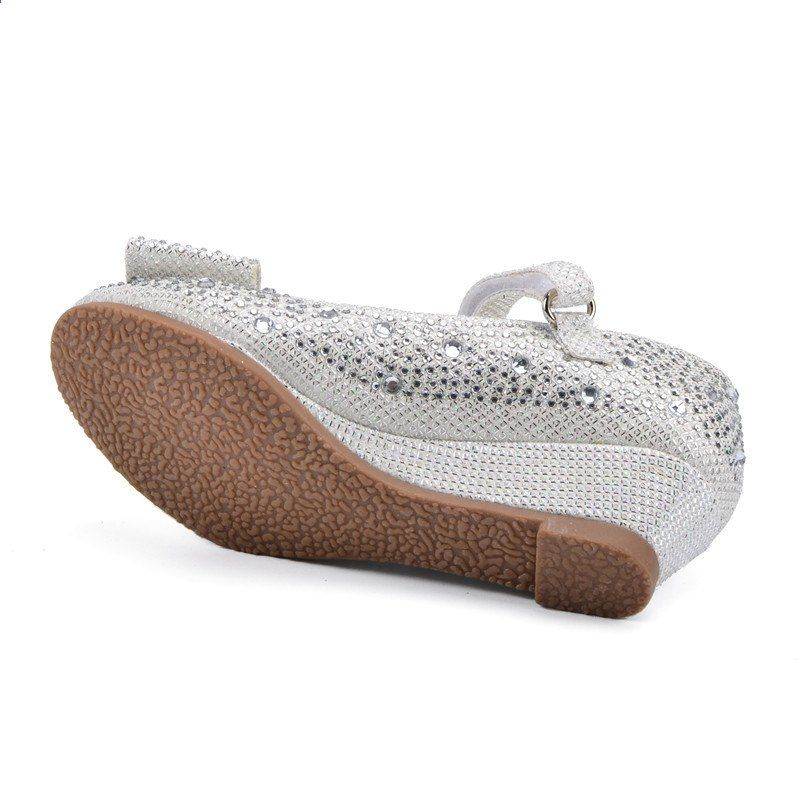 4ab2a0c1 Piger Sølv Guld Fest Bryllup Sko Prinsesse Sko Læder Glitter Krystaller  Rhinestones Wedge Butterfly Knot Kids Shoes