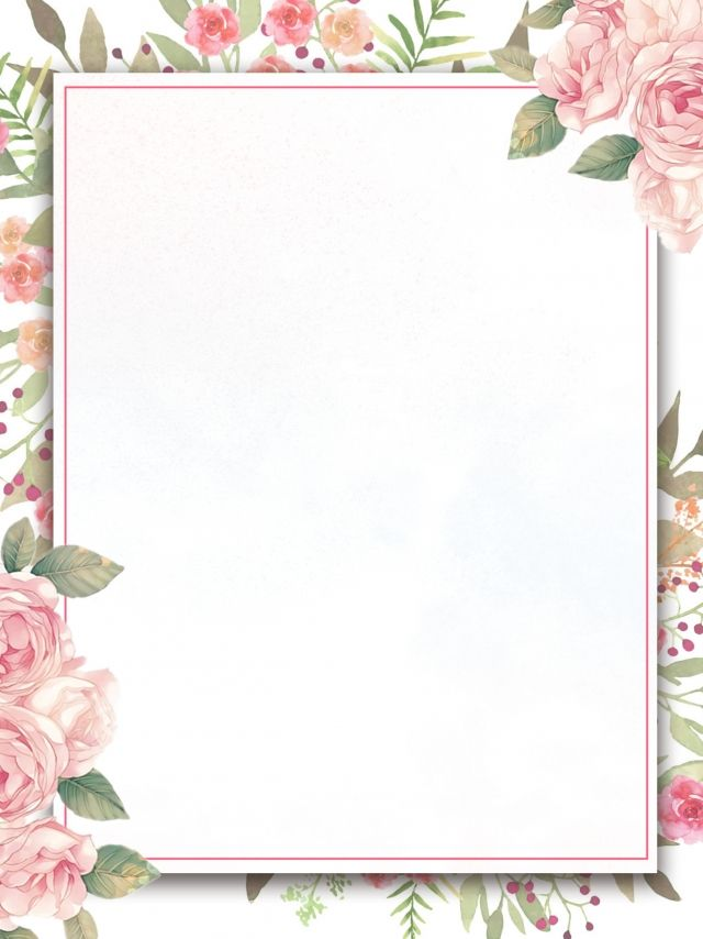 painted flowers border invitation background design
