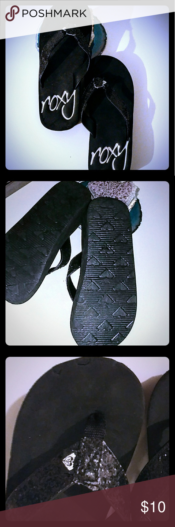 """Roxy size 3 black flip flops with a 2"""" platform. Roxy size 3 black flip flops with a 2"""" platform.  There is a small knick in the top of the left shoe(pic #3) which is barely noticable unless you are looking for it!  These are in great used condition. Roxy Shoes Sandals & Flip Flops"""