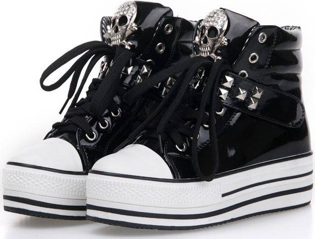 Black Skull Candy Lace Up Sneakers Canvas Skate Shoes for Women Comfortable